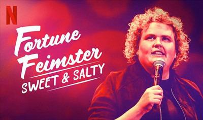 A promotional graphic for Fortune Feimster's Netflix special Sweet & Salty.